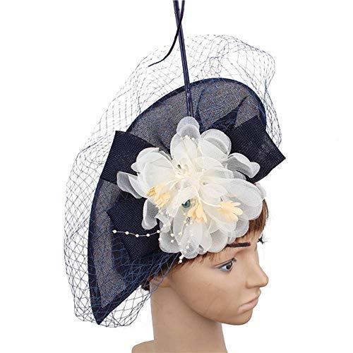 FHKGCD Fascinator Marfil Flor De Seda Boda Pastillero Sombreros Fedora Mujer Azul Claro Accesorios Diademas, Azul Marino,