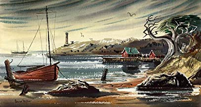 California Watercolor Fine Art Print, Lighthouse, by Barse Miller, 15.5 x 28.75 inches