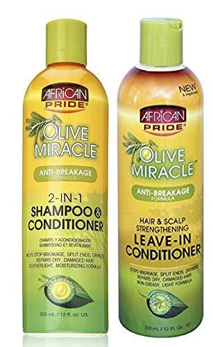 African Pride Olive Miracle Anti-rotura DUO Pack | Champú y acondicionador 2 en 1 355 ml/12 oz | Acondicionador sin dejar de 355 ml/12 oz