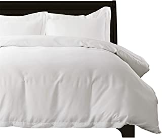 Bedsure 100% Bamboo Duvet Cover King Size Set - Hypoallergenic, Breathable and Wrinkle Resistant Comforter Cover - 3 Pieces Set with Corner Ties and Button Closure White Bedding
