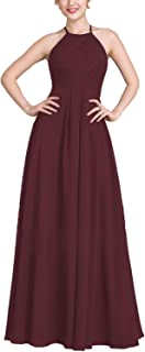ANGELWARDROBE High Neck Chiffon Bridesmaid Dress Long for Women Aline Party Prom Evening Gown