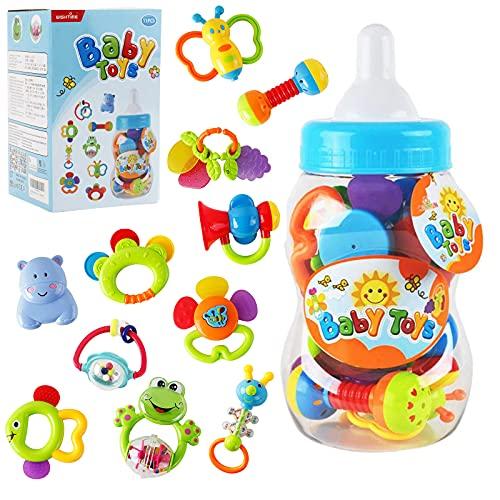 HANMUN Rassel Beißring Set Baby Spielzeug - Shaker Greifen Rassel Baby Kleinkind Neugeborenen Spielzeug Frühe Lernspielzeug für 3 6 9 12 Monate Jungen Mädchen Baby Geschenke