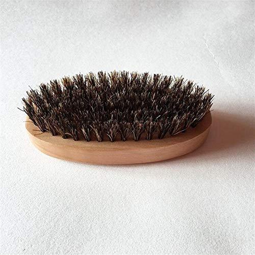 Mrjg Brush Hommes Barbe Mustache Styling Brosse Ronde Militaire Dur avec Manche en Bois Chaud Shaving