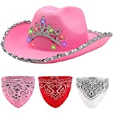 Spooktacular Creations Light Up Pink Cowboy Hat with 3 Bandanas Felt LED Cowgirl Hat for Women Girls Blinking Tiara Sequin Princess Space Cowgirl Hat Halloween Costume Party