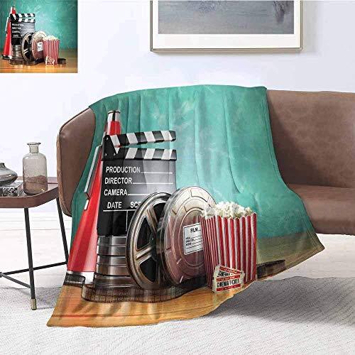 Kino Robust oder langlebig Camping Decke Produktion Movie Reels Clapperboard Tickets Popcorn und Megaphon warm und waschbar