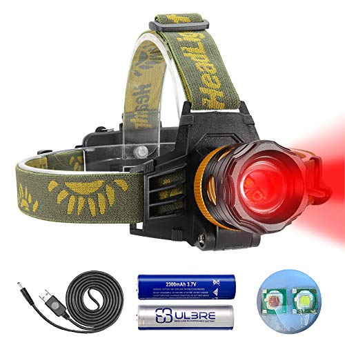Headlamp Red and White Light, LED Headlamp 4 Modes, Waterproof Super Bright Adjustable Zoomable Flashlight for Hunting, Fishing, Cycling, Camping, Astronomy, 2200mAh Rechargeable Batteries Included