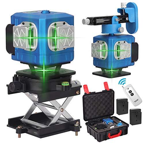 Kecheer Nivel láser autonivelante 360º giratorio con 2 baterías,Niveles láser pared verde,Nivelador laser vertical horizontal autonivelación 12 líneas