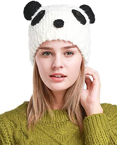 Clothink Knit Beanie Cap Hat Cute Panda Pattern Women White product image
