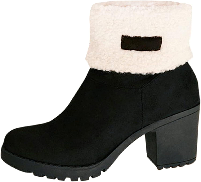 Women Boots Ankle Platform Cotton Warm Fur Snow Boots Winter Flat Booties Cute Plus Size Comfortable Shoes