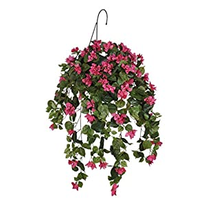 House of Silk Flowers Artificial Pink Bougainvillea in Water Hyacinth Hanging Basket (Natural Water Hyacinth)