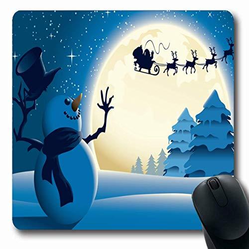 Jamron Mousepad OblongBlue Frohe Weihnachten Szene Schneemann Winken Dunkler Schlitten Rentier Winter Gelassene Freude Schneehut Feiertage Rutschfeste Gummimaus Pad B眉ro Computer Laptop Spiele Matte