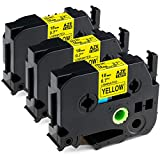 Greateam Compatible Yellow Label Tape Replacement for Brother TZe Yellow Tape 18mm 0.7inch TZe-641 Black on Yellow Ptouch Label Maker Tape Use for Brother P-Touch PT-D400 PTD600 PT1890 PT-P710BT, 3PK
