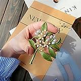 YUQMYSH Elegante Broche Color Verde del husillo para Las Mujeres, Vintage, Cuentas de Neroli, árbol de Broche Esmalte de Flores, Abrigos Accesorios decoración