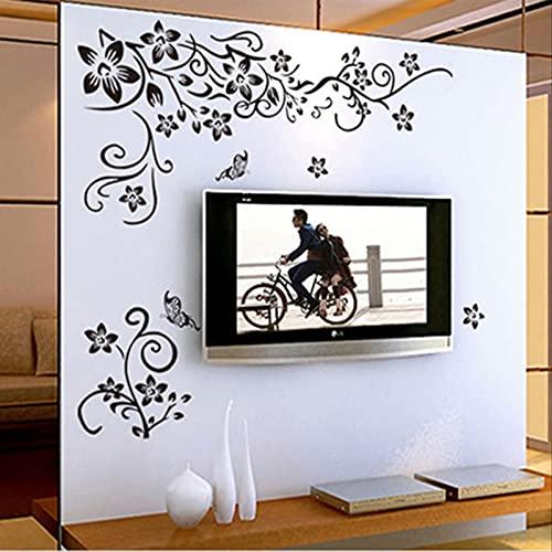 Pegatina de pared con patrón de mariposa negra, pegatinas de papel tapiz de PVC respetuosas con el medio ambiente, decoración de paisajismo extraíble autoadhesiva