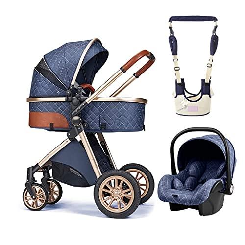 Paraguas del Cochecito De Bebé, 3 En 1 Sillas De Paseo De Bebé, Cinturón para Caminar Baby Learning Walker Harness Keeper, Funda Resistente A La Intemperie Y Bolsa para Mamá (Color : Blue)