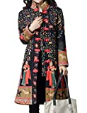 IDEALSANXUN Women's Cotton Linen Vintage Floral Print Lightweight Trench Coat Long Button Down Jacket Robe (Medium, 2 Black(Tibetian Queen))