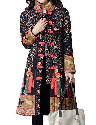 IDEALSANXUN Women's Cotton Linen Vintage Floral Print Lightweight Trench Coat Long Button Down Jacket Robe (Large, 2 Black(Tibetian Queen))