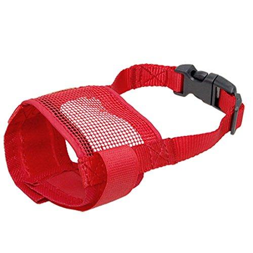 Bestlymood Haustier Anti-Beissen Rot Netz Maulkorb Maske Groesse S