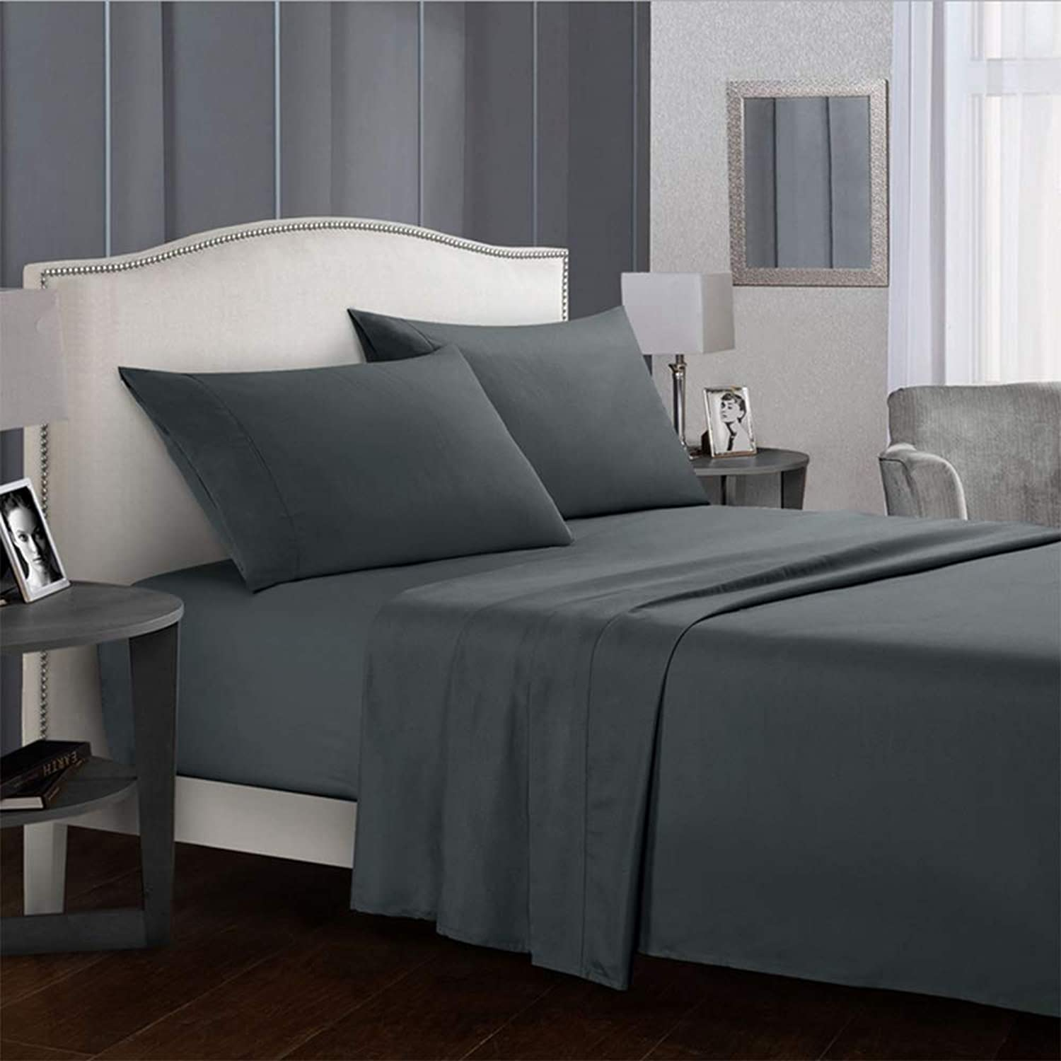 Young Forever Bed Sheet Set - Soft Brushed Microfiber Wrinkle Fade and Stain Resistant 4-Piece Queen Bed Sheet Set - Grey