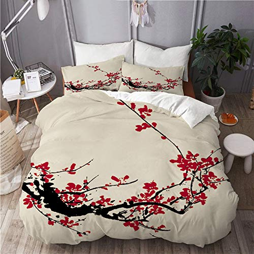 TONKSHA Bedding Juego de Funda de Edredón,Flor de Cerezo Flor Sakura Rama de árbol Pastel Suave Acuarela Asiática Japonesa Pintura Floral,Microfibra SIN Relleno,(Cama 200x200 + Almohada)