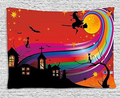 QIAO Tapiz de Halloween Bruja Mujer en Palo de Escoba Murci¨¦Lagos Gato Estrellas Rainbow Moon Castle Resumen Colgante de Pared Colorido para Dormitorio Sala de Estar Dormitorio