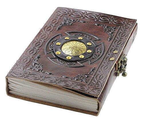 Notizbuch A5 Leder Travel Journal - Handgemachtes Geprägte Zauberbuch Schreiben Tagebuch mit Schloss für Männer und Frauen - Reisetagebuch Zum Selberschreiben - Blanko Paper, 13 x 18 cm