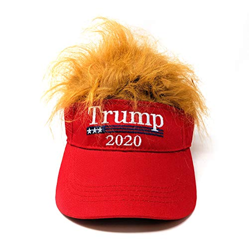 DSD Express Donald Trump 2020 Wig Visor - Novelty Visor Trump Hats for Men - Donald Trump Merchandise Cool Visors for Women - Sun Visor with Hair Funny Wigs Men Half Hat - Donald Trump Hat MAGA Election Red, Large