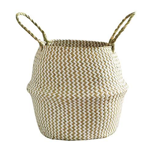 Leobtain Seagrass Canasta de Flores Canasta de Mimbre Maceta Plegable Canasta Sucia Almacenaje para Home Garden Decoración de la Pared de la Boda Piscina y Habitaciones(Caqui)