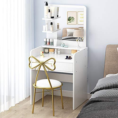 GCZ Tocador de Maquillaje Blanco con Espejo Redondo, cajones Grandes para cosméticos, Amplio Espacio de Almacenamiento, tocador para Dormitorio/baño, diseño Elegante para niñas