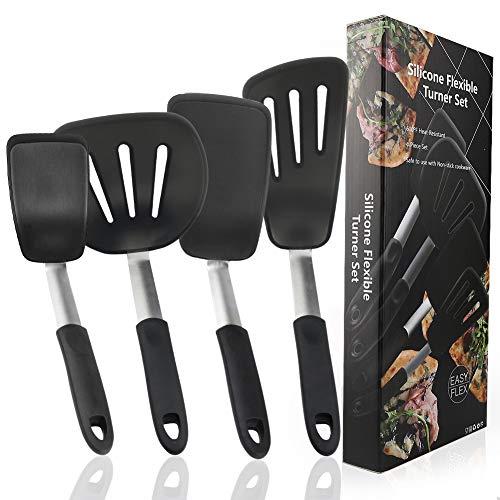 DMAIPUK Silikon Turner Spatel Set, 4 Stücke Silikon Küche Kochgeschirr Set, Hitzebeständige Flexible Nonstick Kochgeschirr Schaufel Schlitz Turner Set