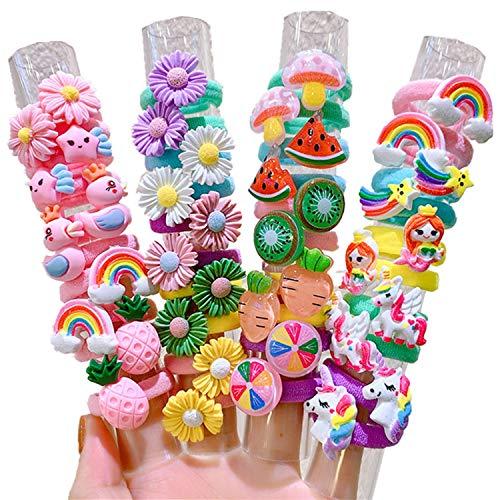 Simpatico set da 10 pezzi, non fa male ai capelli, design a forma di frutta a forma di fiore per ragazza, fascia elastica in gomma (6-arcobaleno cielo)