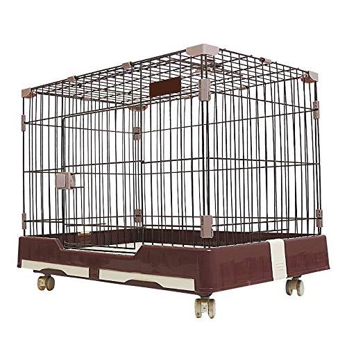 DZLA Jaulas para Perros Grandes con Dos Puertas Jaula de Metal para Mascotas Gatos cajones para Perro Grande con Ruedas y Bandeja (S-74x49x56cm, Marrón)