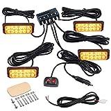 EyPiNS 4X 12LED Luces Estroboscópicas, Luz Intermitente Estroboscopio IP68 Luz de Advertencia Luz de Emergencia 48W 8 Modos Intermitentes 12V/24V para Camión, Tractor, Carretilla Elevadora