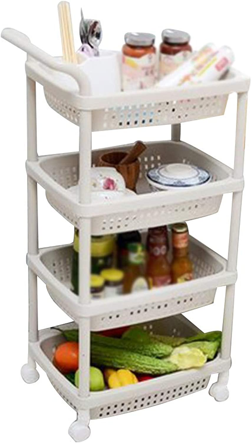 Serving Trolley Cart 4 Tier Mobile Storage Plastic Universal Wheel 4 Baskets, Carrying Capacity 30 Kg, 2 colors (color   Beige)