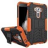 Sunrive Für ASUS ZenFone 3 ZE520KL 5,2 Zoll, Hülle Tasche Schutzhülle Etui Hülle Cover Hybride Silikon Stoßfest Handyhülle Hüllen Zwei-Schichte Armor Design schlagfesten Ständer Slim Fall(Orange)