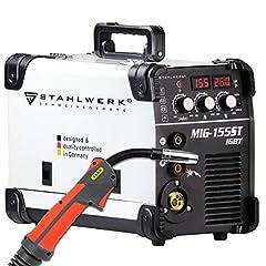 STAHLWERK MIG 155 ST IGBT – Spawarka ochronna MIG MAG z 155 A, drut napełniający FLUX odpowiedni, z MMA E-hand, biały, 7-letnią gwarancją producenta