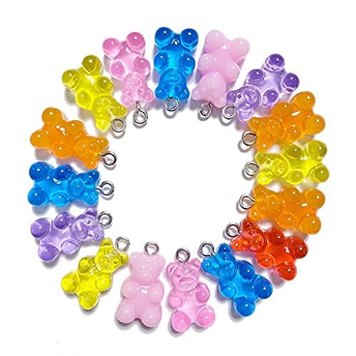 Daimay 40 colgantes de oso lindo de dibujos animados llavero colgantes resina gomoso caramelo collar oso colorido oso para aretes pulsera DIY joyería con agujero colgante – Color mezclado