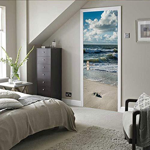 PEBROU 3D Pegatinas Mural De Puerta Hermoso Paisaje De Nubes Blancas Murales Fotográficos Vinilo Autoadhesivo Extraíble Para El Dormitorio Sala De Estar Oficina. 85X215cm