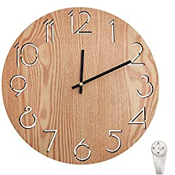 Zaptex 12 inch Wooden Round Wall Clock Silent & Non-Ticking Large Numbers Battery Operated Indoor Clocks(12in-Wood-A G(Wood))