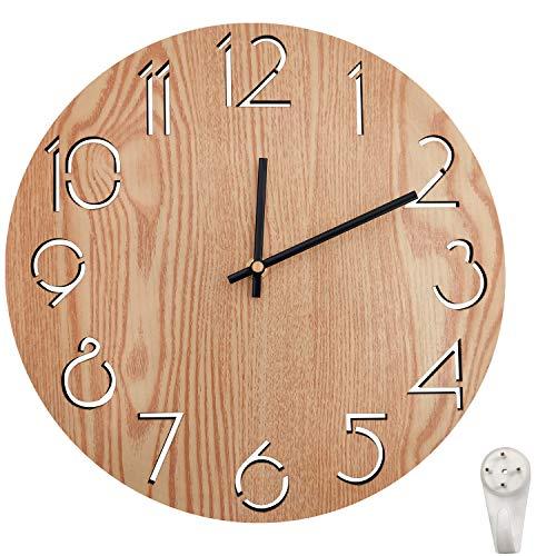 Orologio da parete, in legno, 30 cm/12 pollici, Silenzioso Non ticchettio, Vintage in stile rustico, per Soggiorno, Cucina, Home, Giardino, Fattoria (A)