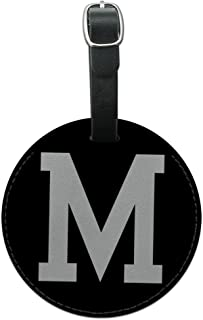 Graphics & More Letter M Initial White Round Leather Luggage Id Tag Suitcase Carry-on, Black
