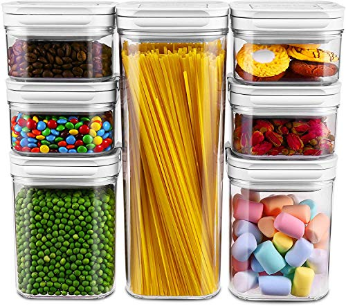 Airtight Food Storage Containers with Lid 7 Piesces Set, Plastic PBA Free Air Tight Pantry Kitchen Storage Container for Snacks, Flour, Cereal - Keeps Food Fresh & Dry - Patented Lid-Lock Mechanism