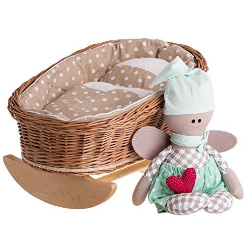 e-wicker24 EIN Schaukelbett, eine Schaukelwiege, EIN Schaukellaufgitter aus Weide für Puppen, Puppenbett