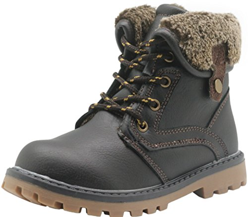 Apakowa New Boy's Winter Martin Snow Boots (Toddler/Little Kid) (12.5 M US Little Kid, Brown)