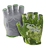 Palmyth Stubby UV Fishing Gloves Sun Protection Fingerless Glove Men Women UPF 50+ SPF for Kayaking, Paddling, Canoeing, Rowing, Driving (Green Camo, Small)