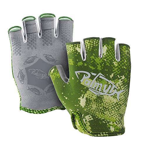 Palmyth Stubby UV Fishing Gloves Sun Protection Fingerless Glove Men Women UPF 50+ SPF for Kayaking, Paddling, Canoeing, Rowing, Driving (Green Camo, X-Large)