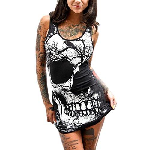SHOBDW Las Mujeres de Moda del cráneo Imprimieron el Mini Vestido Ocasional sin Mangas Delgado Atractivo Elegante del o-Cuello (3XL, Negro)