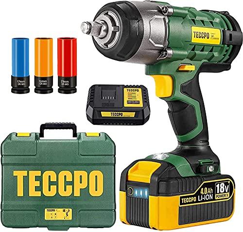 Akku Schlagschrauber, 350N·m mit 4,0 Ah 18V Batterie TECCPO Schlagschrauber, 3000 IPM Schlagfrequenz, 3PCS Buchsen für 17/19/21mm, Adapter für 13mm Dorn und Aufbewahrungsbox für Radschrauben
