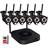 [2 Way Audio] Tonton 1080P Full HD Security Camera System Wireless,8CH NVR Recorder with 1TB HDD and 6PCS 2MP Outdoor Indoor Bullet Cameras with PIR Sensor,Plug and Play,Easy Installation(Black)
