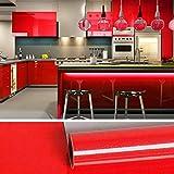 VEELIKE Papel Pintado Rollo Papel Pared Impermeable Vinilo Papel de Pared Muebles Vinilo Papel Adhesivo Rojo Brillo para Dormitorio Sala Encimera Cocina Muebles 40cm x 600cm